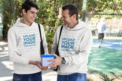 Hoodie Mockup Featuring a Dad and Son at the Park 33084