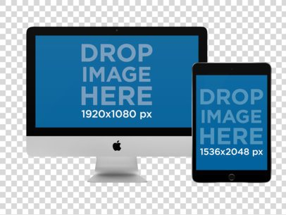 iMac and iPad Mockup in Portrait Position Over a Null Background a12317