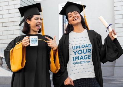 T-Shirt and Coffee Mug Mockup of Two Women on Graduation Day 32590