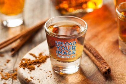 Shot Glass Mockup Featuring Cinnamon Sticks 3218-el1