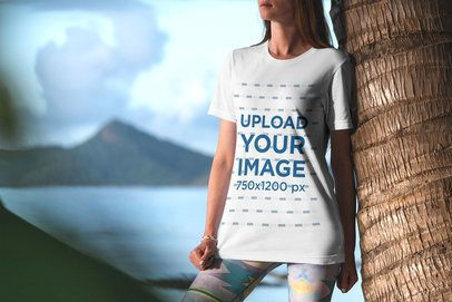 Mockup of a Woman with a Tee Posing in the Beach 3348-el1