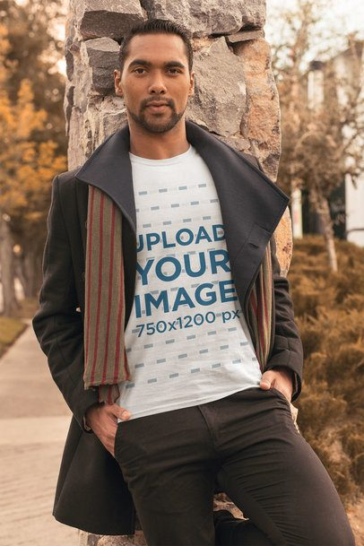 T-Shirt Mockup Featuring a Stylish Man with an Overcoat 31829