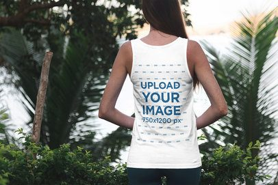 Back View Tank Top Mockup Featuring a Woman Standing By Some Palm Trees 3350-el1