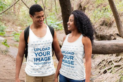 Tank Top Mockup Featuring a Couple Hiking 32362
