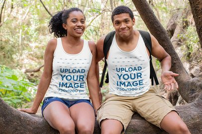 Tank Top Mockup of a Funny Hiker Couple 32365