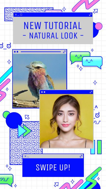 Instagram Story Template Featuring 90's Style Computer Tabs 2343f