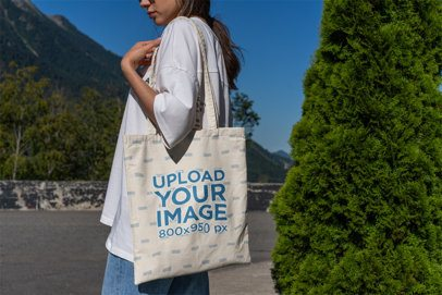 Tote Bag Mockup of a Woman in the Outdoors 3132-el1