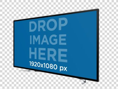 TV in Angled Landscape View Over a PNG Background Mockup a11960
