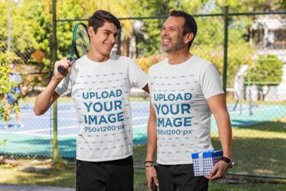 T-Shirt Mockup of a Father and His Son Outside a Tennis Court 33099