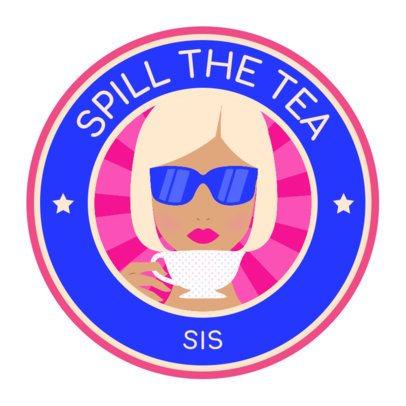 Sticker Design Maker Featuring a Woman Drinking a Tea Graphic 2338a