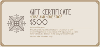Gift Certificate with a Modern Frame for a Home Store 2340g