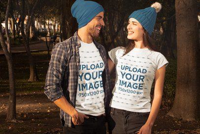 Mockup of a Couple Wearing T-Shirts in Fall 31800