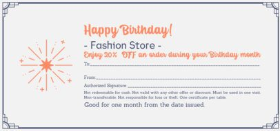 Fashion Store Gift Certificate Template With a Birthday Theme 2340d