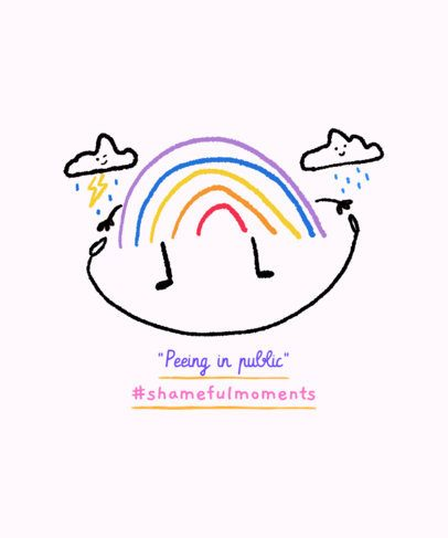 Quote T-Shirt Design Template Featuring a Rainbow Doodle 2335m