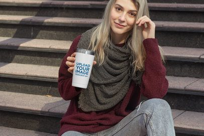 Travel Mug Mockup Featuring a Woman in a Comfy Look 31825
