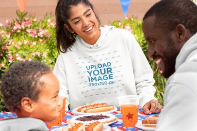 Hoodie Mockup of a Woman Enjoying the 4th of July with Her Family 33019