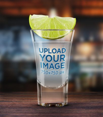 Mockup of a Shot Glass with a Lime on Top 3225-el1