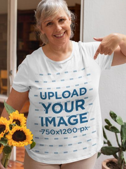 Mockup of an Elderly Woman Pointing at Her T-Shirt 32204