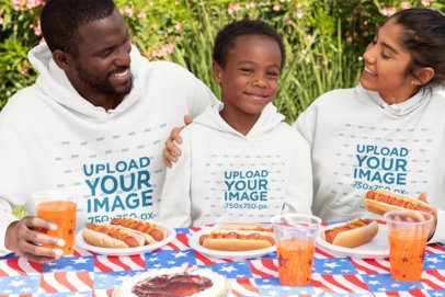 Hoodie Mockup of a Family Enjoying a 4th of July Party 33021