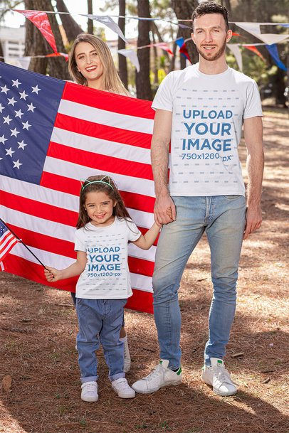 T-Shirt Mockup Featuring a Girl with Her Dad Celebrating 4th of July 33030