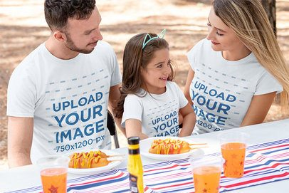 T-Shirt Mockup of a Family Eating Snacks on the 4th of July 33027