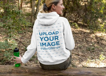 Back View Mockup of a Woman Wearing a Hoodie on a Hike 32223