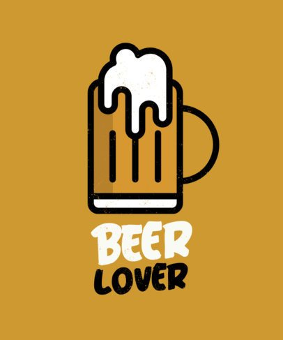 Beer-Themed T-Shirt Design Template with Minimalistic Icons 573-el1