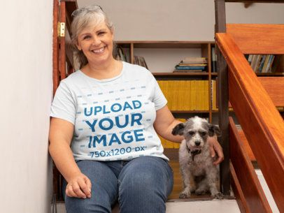 T-Shirt Mockup of a Happy Woman Sitting on the Stairs with her Dog 32210