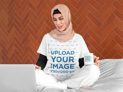 Multiple Products Mockup Featuring a Woman with a T-Shirt and a Coffee Mug 32400