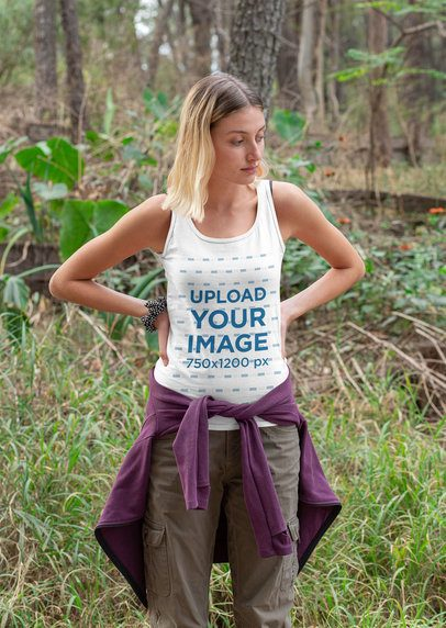 Tank Top Mockup Featuring a Woman in the Woods 32233