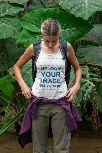 Tank Top Mockup of a Young Woman Hiking 32231