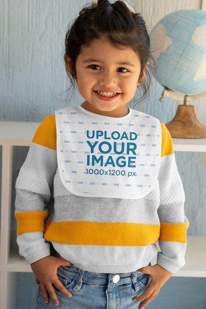 Bib Mockup of a Smiling Little Girl 32514