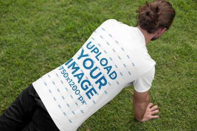 Back View Mockup of a Man with a T-Shirt Doing Push-Ups 32324