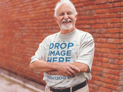 Round Neck T-Shirt Mockup of a Smiling Senior Man b12385