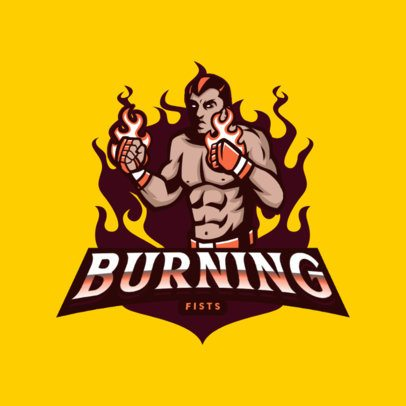 Sports Logo Creator Featuring a Box Fighter with Flaming Gloves 3075c