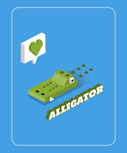 T-Shirt Design Template Featuring a 3D Alligator Cartoon 605d-el1