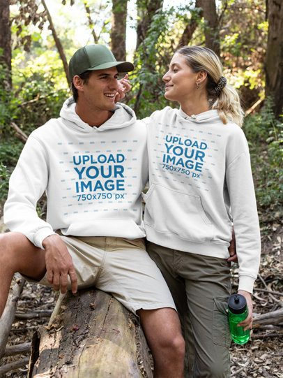 Pullover Hoodie Mockup of a Couple on a Hike 32220