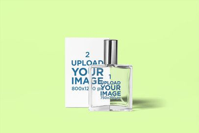 Minimal Mockup of a Perfume Bottle and Its Box Against a Plain Background 3297-el1