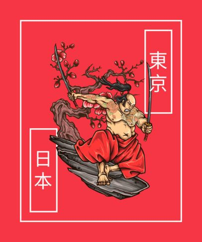 Cool T-Shirt Design Maker with the Illustration of a Samurai 603a-el1