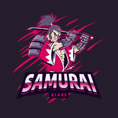 Illustrated Logo Maker for Gamers Featuring a Samurai Warrior Clipart 3075j