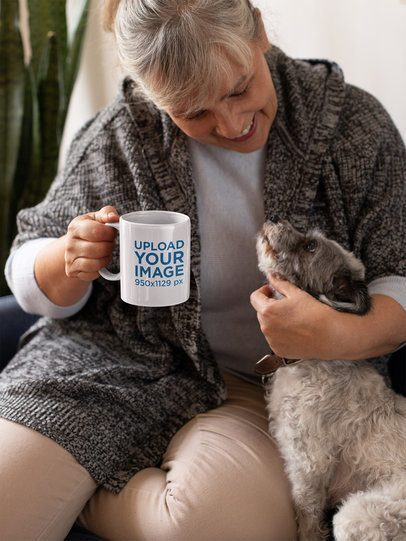 11oz Coffee Mug Mockup of a Woman Petting Her Dog 32200