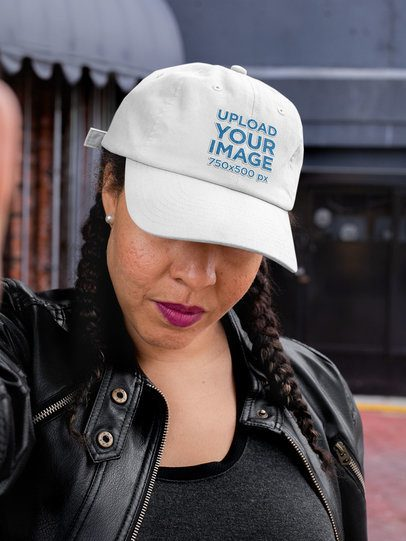 Dad Hat Mockup Featuring a Woman Taking a Selfie 32432