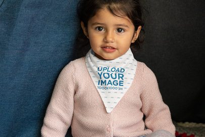 Bib Mockup Featuring a Little Girl Smiling 32520