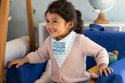 Mockup of a Happy Little Girl with a Baby Bib 32521
