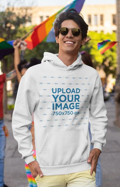 Hoodie Mockup of a Stylish Man at the Pride Parade 32991