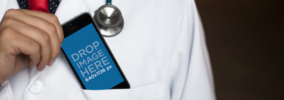 iPhone Mockup of a Doctor Putting his iPhone SE in his Pocket a12396