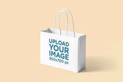 Horizontal Paper Bag Mockup Featuring a Plain Background 3476-el1