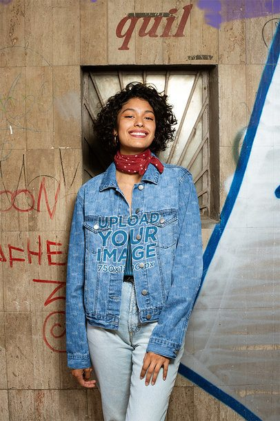 Denim Jacket Mockup of a Smiling Woman in an Urban Setting 32564