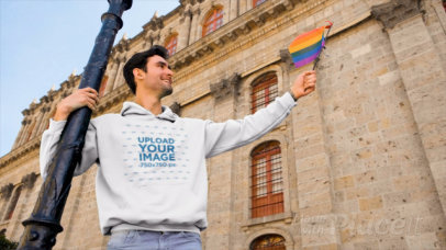 Hoodie Video Featuring a Man Holding the Pride Flag 33361