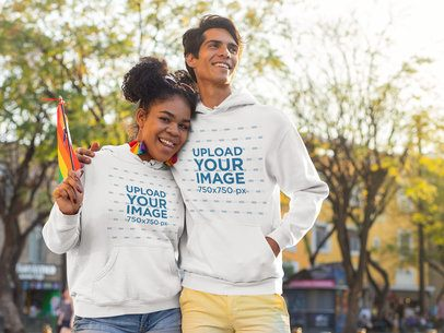 Hoodie Mockup Featuring Two Friends Hugging on the Street 33003